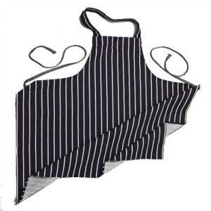 Butchers Stripe Cotton Apron in Navy/White