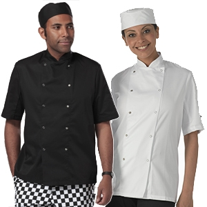 Dennys Light Weight poly/Cotton Chefs Jacket with 10 press studs