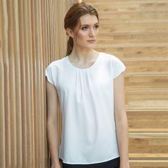 Women's pleat front short sleeve blouse