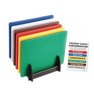 Hygiplas Standard Low Density Chopping Board Set with Rack