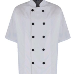Short Sleeved Chef's Jacket with large black buttons