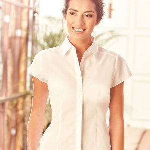 Ladies' Cap Sleeve Polycotton Easy Care Fitted Poplin Shirt