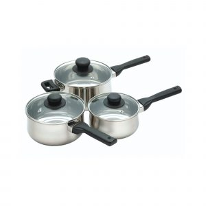 KitchenCraft Stainless Steel Three Piece Saucepan Set